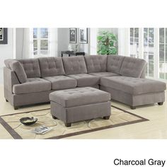 Odessa Waffle Suede Reversible Sectional Sofa with Ottoman | Overstock.com Shopping - Big Discounts on Sectional Sofas