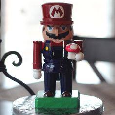 Hand Painted Mario Nutcracker by NirdHauss   NES Nintendo Super Mario Brothers