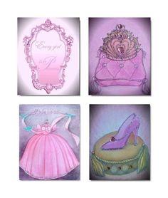 Every Girl is a Princess, SET OF 4 Prints, Girl Nursery Princess, Wall Art for Kids, Princess Cinderella, Girls room Decor, Kids Decor