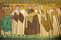 Mosaic depicting Emperor Justinian I. Byzantine Roman mosaics of the Basilica of San Vitale in Ravenna, Italy. Mosaic decoration paid for by Emperor Justinian I in 547. A UNESCO World Heritage Site. Basilica of San Vitale in Ravenna, Italy. Download as royalty free photos of buy photo wall art prints on line. Photographer Paul Williams.