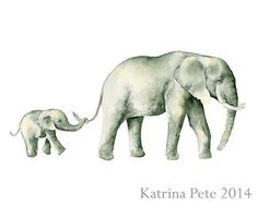 11x14 Elephant Print by Katrina Pete. Gray elephants holding tails, Mom and Baby watercolor prints