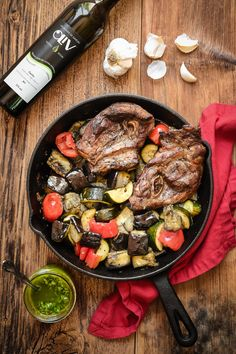 Lamb Chops and Summer Veggies with Nice-Style Pesto