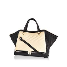 Cream quilted winged tote bag $90.00