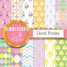Easter digital paper, easter digital download 'Good Friday' set with crosses, easter bunnies, easter eggs and chicks