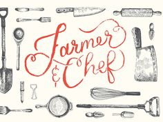 Farmer And Chef logo and branding designed by Highline Design Co. Chef Recipes, Cooking Recipes, Chef Logo, Personal Chef, Ink Illustrations, Morning Food, Logo Design Services, Food Gifts, Food Preparation