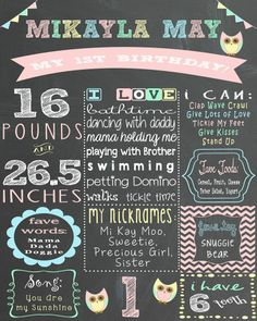 baby girl first birthday baby owl themed chalkboard sign.