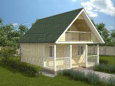 Дачный дом 6х6 м с мансардой и террасой. Проект дома №63.