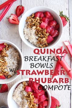 Quinoa Breakfast Bowls w/ Strawberry Rhubarb Compote! Spring-inspired, naturally sweetened, and SO YUM! #vegan #glutenfree #recipe   peachandthecobbler.com