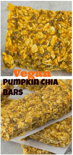 Sweet pumpkin chia bars are loaded with fresh pumpkin, vitamin A  and fiber. For a healthy guilt free snack.
