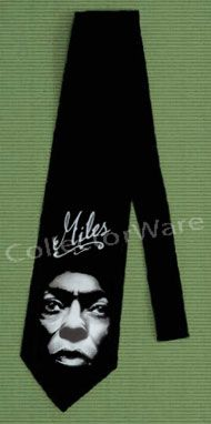 MILES DAVIS drawing 1 CUSTOM ART UNIQUE TIE   Each necktie is individually hand-painted, a true and unique work of art indeed!  To order this, or design your own custom tie, please contact us at info@collectorware.com, or visit http://www.collectorware.com/neckties-miles_davis.htm