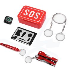 Outdoor Emergency Equipment SOS Kit First Aid Box Camping Tr. - Outdoor Emergency Equipment SOS Kit First Aid Box Camping Travel Survival Gear Emergency Survival Kit, Emergency Equipment, Outdoor Survival, Camping Equipment, Camping Gear, Outdoor Camping, Camping Tools, Camping Survival, Bug Out Bag