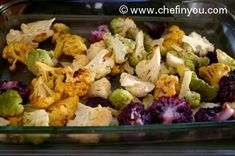 Roasted Cauliflower Recipe | Baked Purple, Green , Orange Cauliflower Recipe