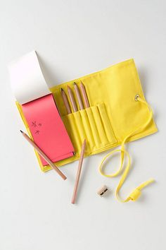 Canvas Pencil Roll - Anthropologie.com I want to recreate to hold each set of art pencils, watercolor pencils, copic markers and chalks 8 have.