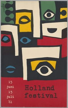 """""""Holland Festival"""" by Dick Elffers / Art Size: x Graphic Design Posters, Graphic Design Typography, Graphic Design Illustration, Graphic Art, Jazz Poster, Jazz Art, Vintage Advertising Posters, Music Painting, Retro Ads"""