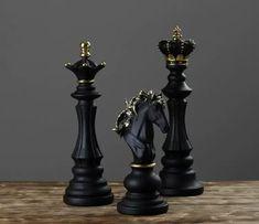 Game Black, Art Sculpture, Illusion Art, Chess Pieces, Floor Decor, Gold Set, Knight, Statue, Decoration