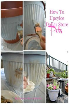 How to upcycle Dollar Store pots into beautiful planters