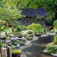 Cheap Garden Ideas Landscaping With Cheap Garden Ideas Cheap Landscaping Ideas Fake River Cheap Landscaping Ideas, Home Landscaping, Backyard Ideas, Backyard Designs, Patio Ideas, Garden Ideas, Sloped Backyard, Country Landscaping, Landscaping Software