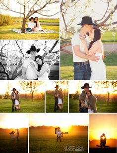 Spring Engagement Session E-session www.studionineportraits.com  country engagement session, cowboy, sunset engagement