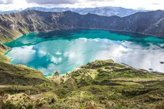 Quilotoa Loop is a road which loops around the Panamericana and descends into Laguna Quilotoa in Ecuador. Quilotoa lake is the bottom of the Quilotoa Crater.