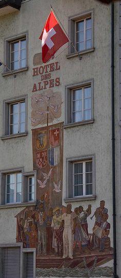 Hotel des Alpes mural, Lucerne,  Switzerland