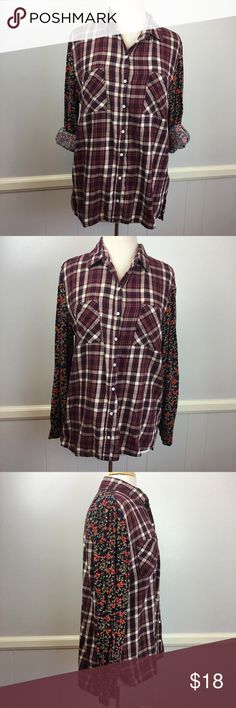 Bethany Mota Plaid w/Floral sleeves Burgundy, Navy, Cream Plaid Button down top  with floral sleeves Bethany Mota Tops Button Down Shirts