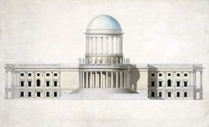 PROPOSED DESIGN FOR THE US CAPITOL WITH HIGH DOME BY WILLIAM THORNTON, C. 1797