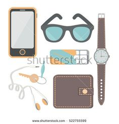 Things a man carries with him: a watch, a phone, headphones, keys, wallet, chewing gum, sunglasses, headphones. Vector illustration.