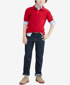 Ralph Lauren Little Boys' Pique Polo, Blake Oxford Shirt & Slim-Fit Jeans - Toddler Boys (2T-5T) - Kids & Baby - Macy's