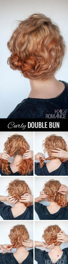 Cute little side messy bun for curly hair.