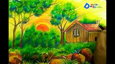 Healthy snacks for preschoolers to bring to school ideas 2017 fall Sunrise Landscape, Pastel Landscape, Landscape Paintings, Landscapes, Scenery Drawing For Kids, Art Drawings For Kids, Basic Painting, Painting For Kids, Oil Pastel Drawings