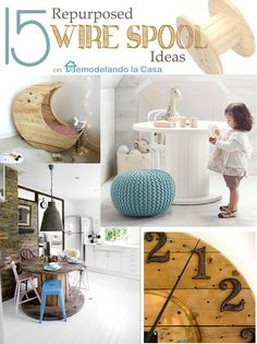 How to upcycle, repurpose a wire spool to create a spinning desktop organizer. Wire Spool, Wooden Spools, Diy Projects To Try, Home Projects, Spool Tables, Spool Crafts, Deco Design, Pallet Furniture, Furniture Redo