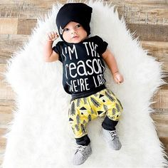 I'm the reason we're late baby onesie - The Pine Torch. Funny baby onesies, baby boy clothes, baby slouchy beanie and harem pants, hipster baby, baby boy fashion.