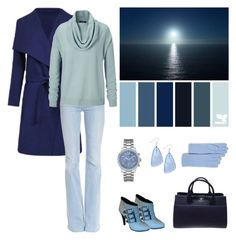 """Blue Hues"" by dezaval ❤ liked on Polyvore featuring Frame Denim, Barbara Bui, Chanel, C by Bloomingdale's, GUESS and Style & Co."