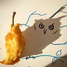 Un búho en el corazón de una manzana - Objetos que cobran vida gracias a su sombra - 20minutos.es