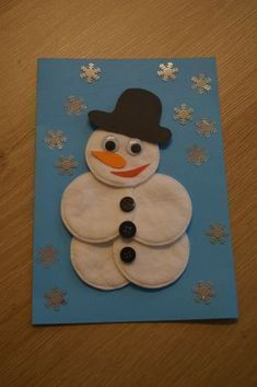 Crafts with seniors. Make a snowman out of cotton wool - Crafts with seniors. Make a snowman out of cotton wool - : Crafts with seniors. Make a snowman out of cotton wool - Crafts with seniors. Make a snowman out of cotton wool - Kids Crafts, Diy Crafts To Do, Winter Crafts For Kids, Christmas Activities, Christmas Crafts For Kids, Toddler Crafts, Christmas Art, Diy For Kids, Holiday Crafts