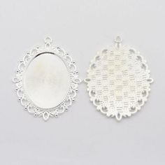 2pcs Tibetan Style Oval Pendant Cabochon Settings Silver Jewelry Making Finding