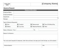 This Printable Form Can Be Used By Employees To Request