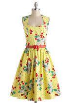 Bernie Dexter Im All Cheers Dress in Cherries Jubilee   Mod Retro Vintage Dresses   ModCloth.com