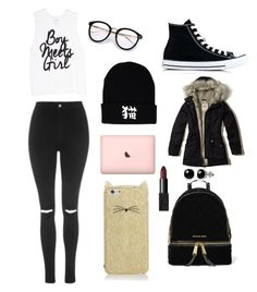 """Sans titre #1680"" by merveille67120 ❤ liked on Polyvore featuring Topshop, Converse, Kate Spade, Hollister Co., MICHAEL Michael Kors, Belk & Co. and NARS Cosmetics"