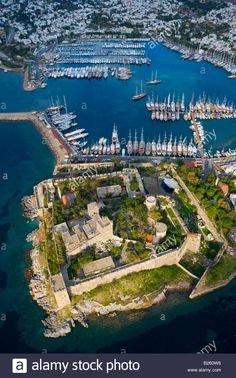 Aerial view of Bodrum Castle, Mugla Turkey