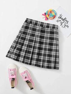 Girls Zipper Side Tartan Pleated Skirt – Kidenhouse Cute Skirt Outfits, Cute Skirts, Cute Casual Outfits, Girl Skirts, Leopard Print Skirt, Floral Print Skirt, Plaid Fashion, Girl Fashion, Tartan Pleated Skirt