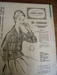 523 Ancien Patron L'Echo DE LA Mode Chemisier Foulard Taille 42 44 46 1960 | eBay