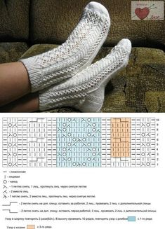 Crochet ideas that you'll love Lace Socks, Crochet Socks, Knitted Slippers, Knit Crochet, Knit Socks, Lace Knitting, Knitting Stitches, Knitting Socks, Work Socks