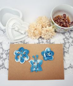 3 Blue Crochet Patches, Flower Applique, Fabric Butterfly, Blue Sewing Supplies, Knitted Embellishments, Crochet Butterfly, Lace Appliques