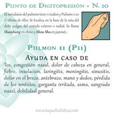 El meridiano del pulmón tiene 11 tsubos y Pulmón 11 es el último de ellos. Se localiza en la base de la uña del dedo pulgar, del costado externo o radial. Se llama Shaoshang en chino y Shou Shu en japonés.