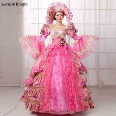 Sissi & Marie Antoinette Dress Inspired Royal Ball Gowns Adult Princess Fancy Dress Masquerade Ball Gown PINK