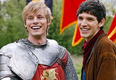 "Arthur and Merlin in ""Merlin"" (Bradley James and Colin Morgan) one of my fav. tv. shows"