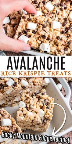 hewy and delicious, these peanut butter white chocolate Avalanche Krispie Bars are a copycat of the famous bars from Rocky Mountain Chocolate Factory. They're even better than the original! Fudge Recipes, Sweets Recipes, Easy Desserts, Delicious Desserts, Snack Recipes, Snacks, Bar Recipes, Copycat Recipes, Baking Recipes