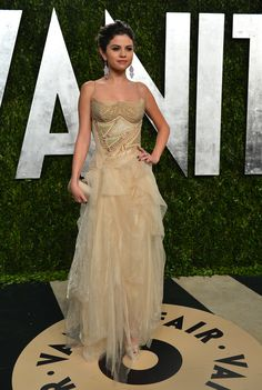 92a10b2832 Actress Selena Gomez wore a look from Atelier Versace Fall 2012 - a gown  with chiffon