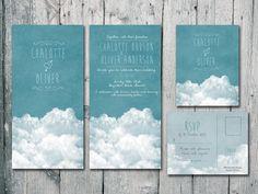 Digital - Printable Files - Blue Sky Wedding Invitation and Reply Card Set - Wedding Stationery. $35,00, via Etsy.